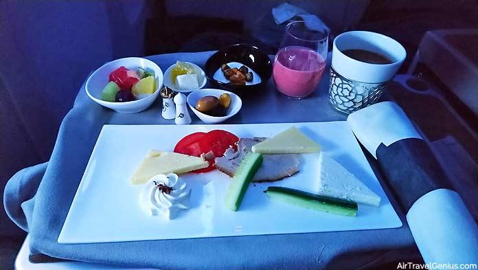 business class flight meal