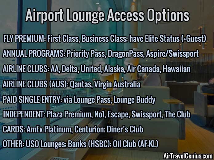 airport lounge access options