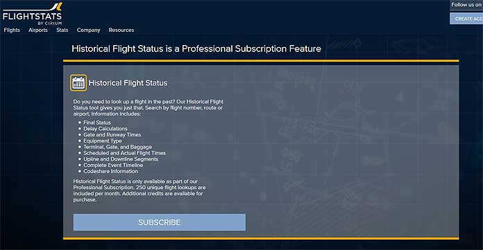 flight stats screenshot